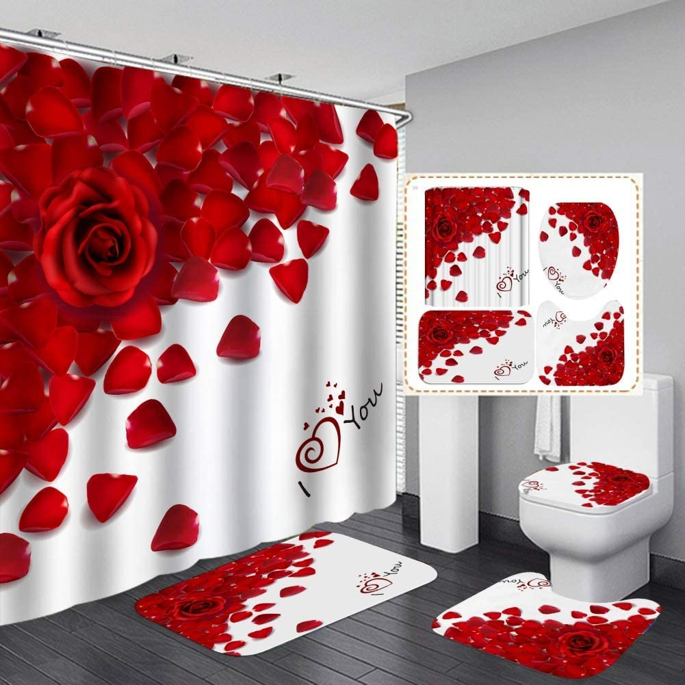 mart Ymjshnzk 4 New mail order Pcs Valentines Shower Rugs Sets with Curtain Non-Sli