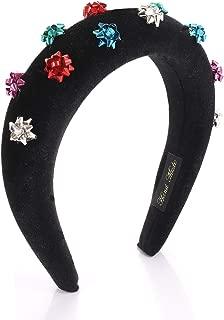 HZEYN Christmas Headband Gift Wrap Padded Headband Xmas Present Bow Velvet Headband Hairband (Silver Mixed Bow)
