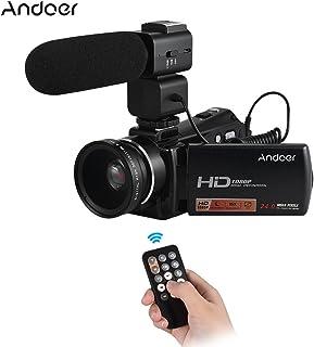 كاميرا الفيديو Andoer 1080P Full HD 24 ميجا بكسل كاميرا رقمية 3.0 / دوار LCD الرؤية الليلية 16X زووم جهاز تحكم عن بعد مايكروفون خارجي 0.45X عدسات زاوية واسعة