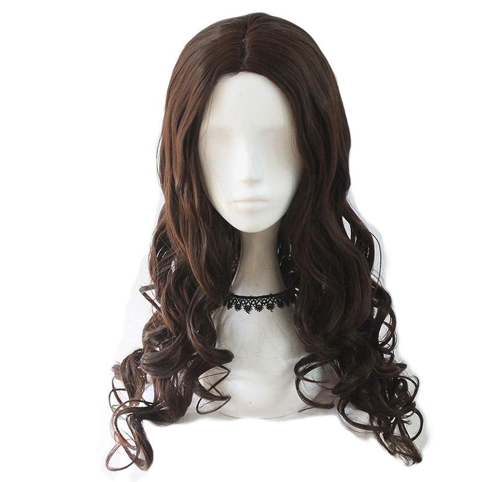 便宜スクラップ赤ちゃんKoloeplf レディース ウィッグ コスプレ 長い 巻き髪 ビッグ ウェーブ 耐熱 ウィッグ (Color : Dark brown)