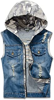 Men's Fit Retro Ripped Denim Vest Sleeveless Jean Vest and Jacket