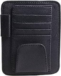 elegantstunning Car Sunglasses Clips Box Organizer Case Sun Visor Sunshade Bag Card Holder Interior Car Accessories Black