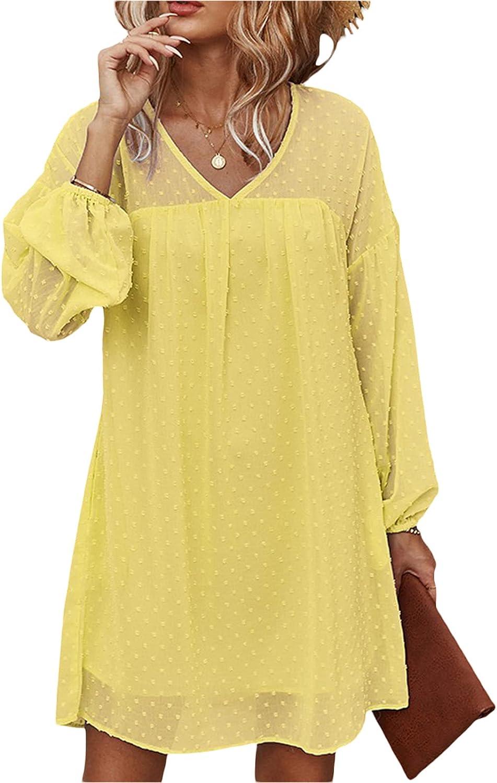 Women's Dots Print Deep V Neck Mini Dress Sexy Long Sleeve Solid Color Chiffon Flowy Swing Short Dresses