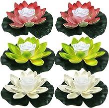SOLUSTRE 6Pcs Floating Lotus Lantern Wishing Light Water Lantern Lotus Flower LED Night Light for Pool Pond Garden
