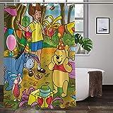 Winnie the Pooh Duschvorhang Stoff Duschvorhang 12 Haken Duschvorhang Liner Wasserdicht Polyester Stoff Dusche
