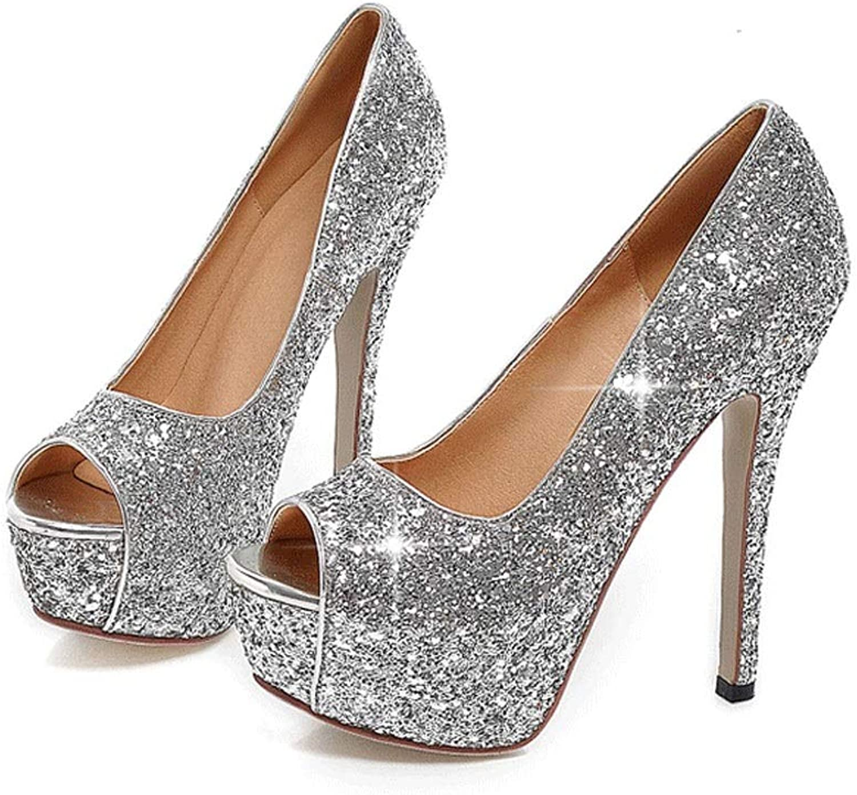 Women's Platform High Heel Sandals, Super High Heel Platform Sequin Wedding shoes, Fish Mouth Stiletto Women's shoes (color   Silver, Size   8 US)