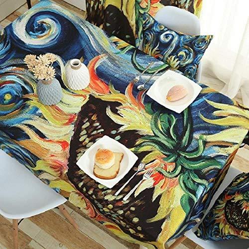 Bvcahosg Pastoral Vines Bedruckte Tischdecke aus Baumwollgewebe deckt Dekorationstisch ab, Farbe 2