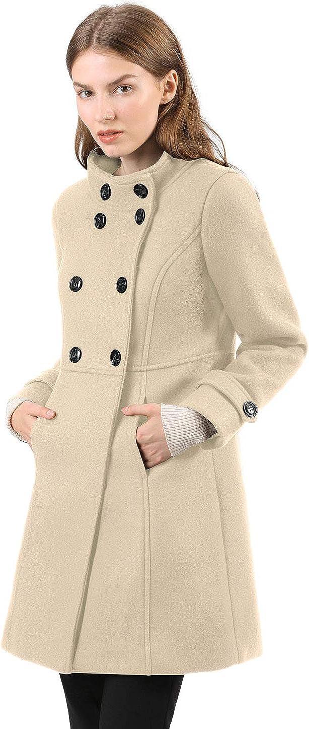 Allegra K Damen A Linie Stehkragen Knopfleiste Trenchcoat Mantel Cream Weiß