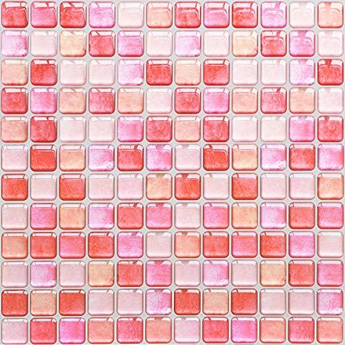 Yoillione 3D Fliesenaufkleber Mosaik Bad Fliesenfolie Küche Selbstklebende 3D Mosaik Fliesen Sticker Rosa, Wasserdicht Fliesensticker Aufkleber Fliesen Folie für Badezimmer Wohnzimmer, 4er Pack