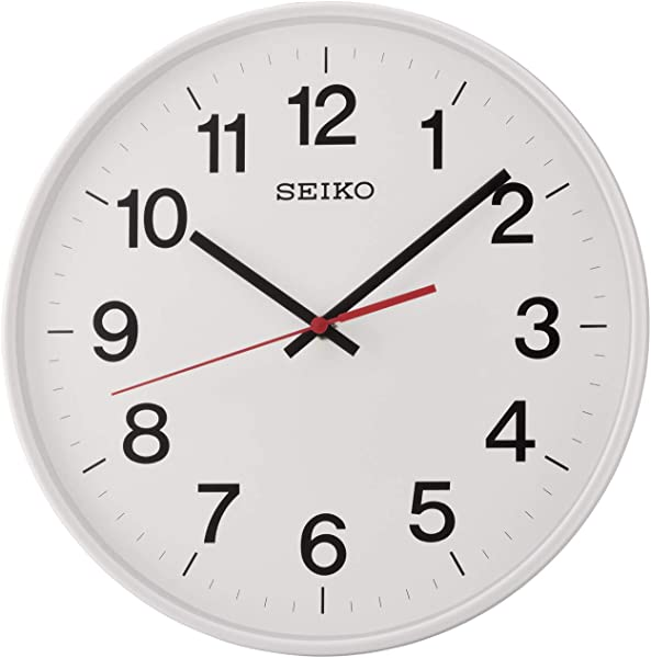Seiko Quiet Sweep Second Hand Wall Clock White With Arabic Numerals