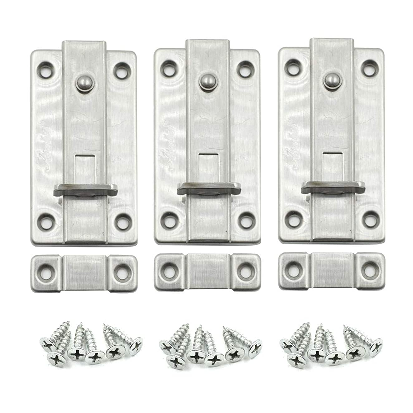 HONJIE Stainless Steel Thickened Door Latch Spring Barrel Bolt 4 Inch-3pcs