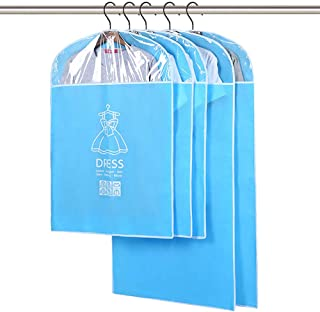 Hulorest Breathable Garment Bag Suit Bag with Full Zipper & Eyehole & Clear PVC Window for Folding for Suit Carriers, Dresses, Storage or Travel Pack of 5 (35''x 3PCS + 47''x 2PCS) (Blue)