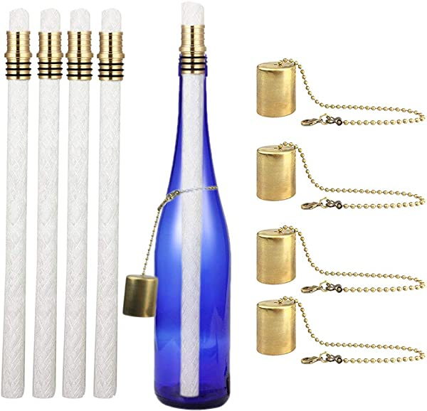 EricX Light Wine Bottle Torch Kit 4 Pack Includes 4 Long Life Torch Wicks Brass Torch Wick Holders And Brass Caps Just Add Bottle For An Outdoor Wine Bottle Torch