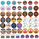 Single Serve & K Cups Variety Pack, Dark Roast Coffee Pods Variety Pack for Keurig K Cups Machines, Perfect Coffee Gift Set, 50 Count