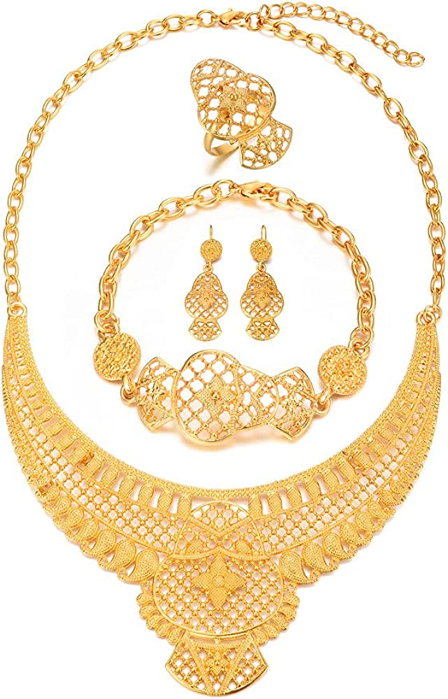 24K Gold Plated Jewelry Sets for women Bridal Necklace Earrings Bracelet Ring Set Indian African Wedding Gifts