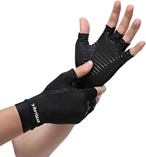RiptGear Compression Gloves for Women and Men – Copper Infused Glove for Rheumatoid Arthritis Osteoarthritis Carpal Tunnel Raynauds Disease – Hand Pain Relief and Support – Open Finger Pair (Medium)