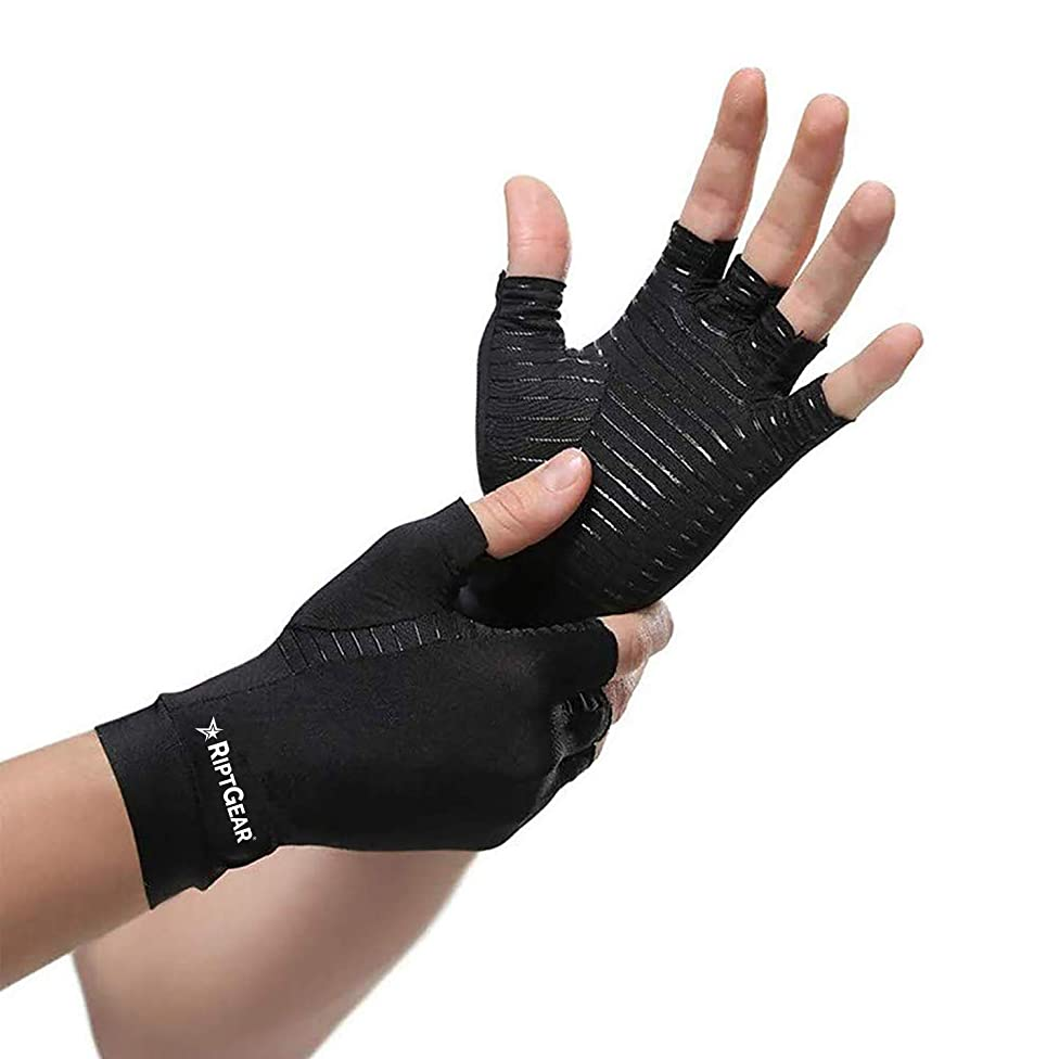 RiptGear Compression Gloves for Women and Men – Copper Infused Glove for Rheumatoid Arthritis Osteoarthritis Carpal Tunnel Raynauds Disease – Hand Pain Relief and Support – Open Finger Pair (Large)