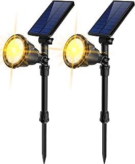JSOT Solar Lights Outdoor, 18 LED Solar Powered Spotlights [Warm White ]Landscape Lights 2-in-1 IP65 Waterproof In-Ground Light Solar Wall Lamp for Yard Garage Deck Garden Walkway Tree Flag,Pack of 2