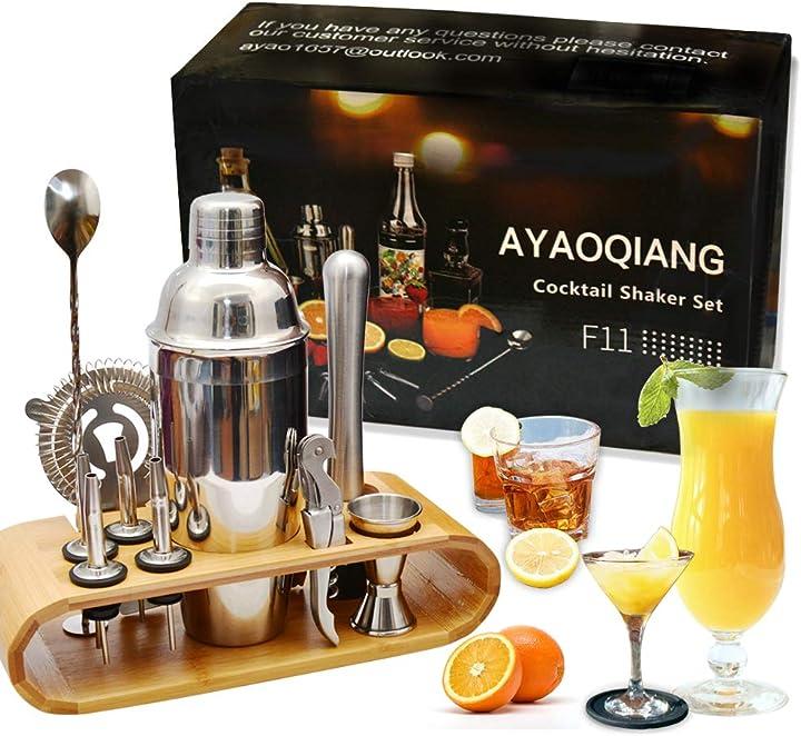Cocktail BAR shaker set di 12 pezzi kit attrezzatura bar in acciaio inox shaker 750 ml ayaoqiang B07RCXXWYB