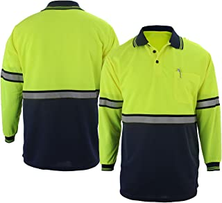 First Class Two Tone Polyester Polo Shirt with Reflective Stripes Lime Yellow/Navy (Long Sleeve)