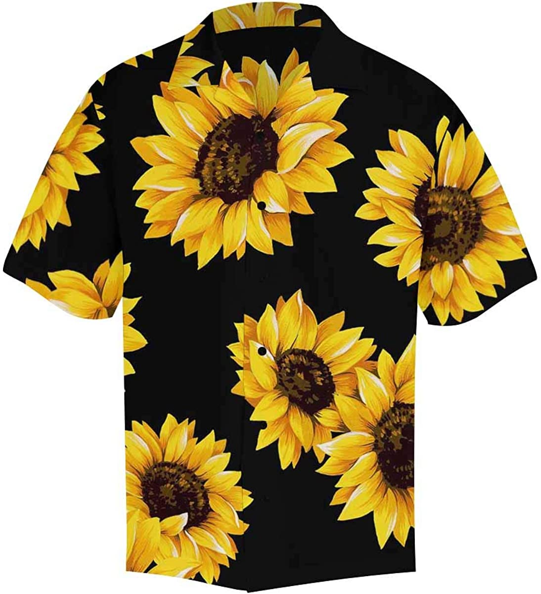 InterestPrint Comfortably Collared Field of Blooming Sunflowers Casual Shirts V-Neck Short Sleeve Beach Top