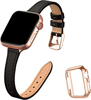STIROLL Slim Leather Bands Compatible with Apple Watch Band 38mm 40mm 42mm 44mm, Top Grain Leather Watch Thin Wristband fo...