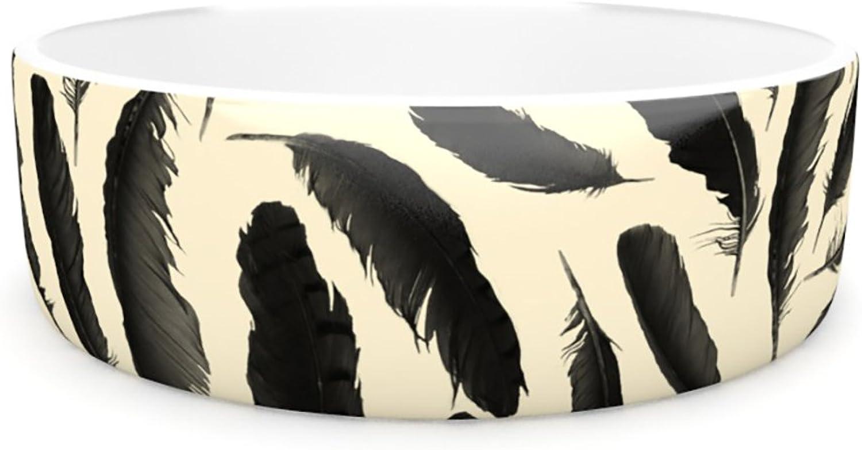 Kess InHouse Skye Zambrana Feather Pattern  Pet Bowl, 7Inch