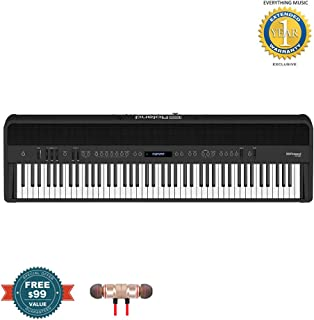Roland FP-90 88-Key Digital Piano (Black) includes Free Wireless Earbuds - Stereo Bluetooth In-ear and 1 Year Everything Music Extended Warranty