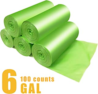 Small Kitchen Trash Bags Biodegradable Garbage Bags 6 Gallon Thick Leak Proof Eco Friendly Compostable Trash Bags Liners for Kitchen,Office,Bathroom, Bedroom,Car,100 Counts (Green)