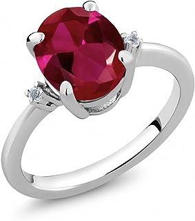 3.39 克拉 椭圆形 红色 人造红宝石 搭配 白色 黄玉托帕石 925银