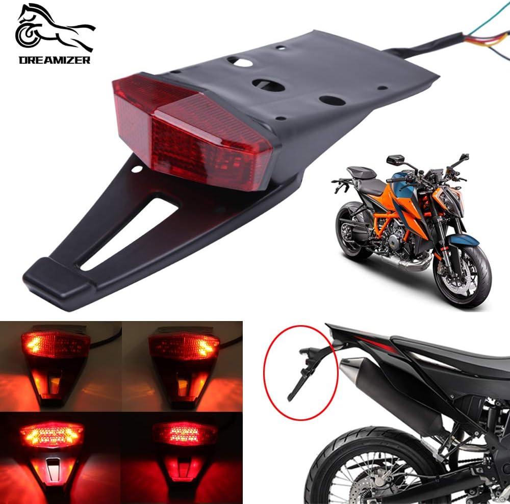 Motocicleta Luz de Freno de la Defensa Trasera, Universal LED de 12V Luces Traseras para Moto Motocross Off Road Dirt Bike 125SX 450SX CRF250 400450 WR125R WR250R YZ125 YZ250F(Rojo)