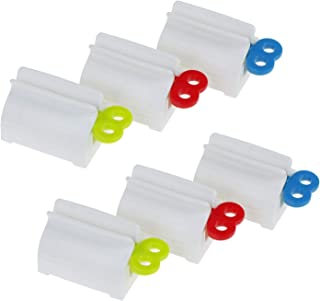 AOPOO 6 Pieces Rolling Tube Rotate Toothpaste Squeezer Easy Toothpaste Dispenser Toothpaste Seat Holder Stand for Bathroom Accessories, (Red, Blue, Green)