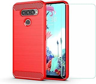 YZKJ Fodral för LG Q70, mjuk silikon kolfiber mobiltelefonfodral TPU väska skyddsfodral pansarglas skärmskydd för LG Q70 (...