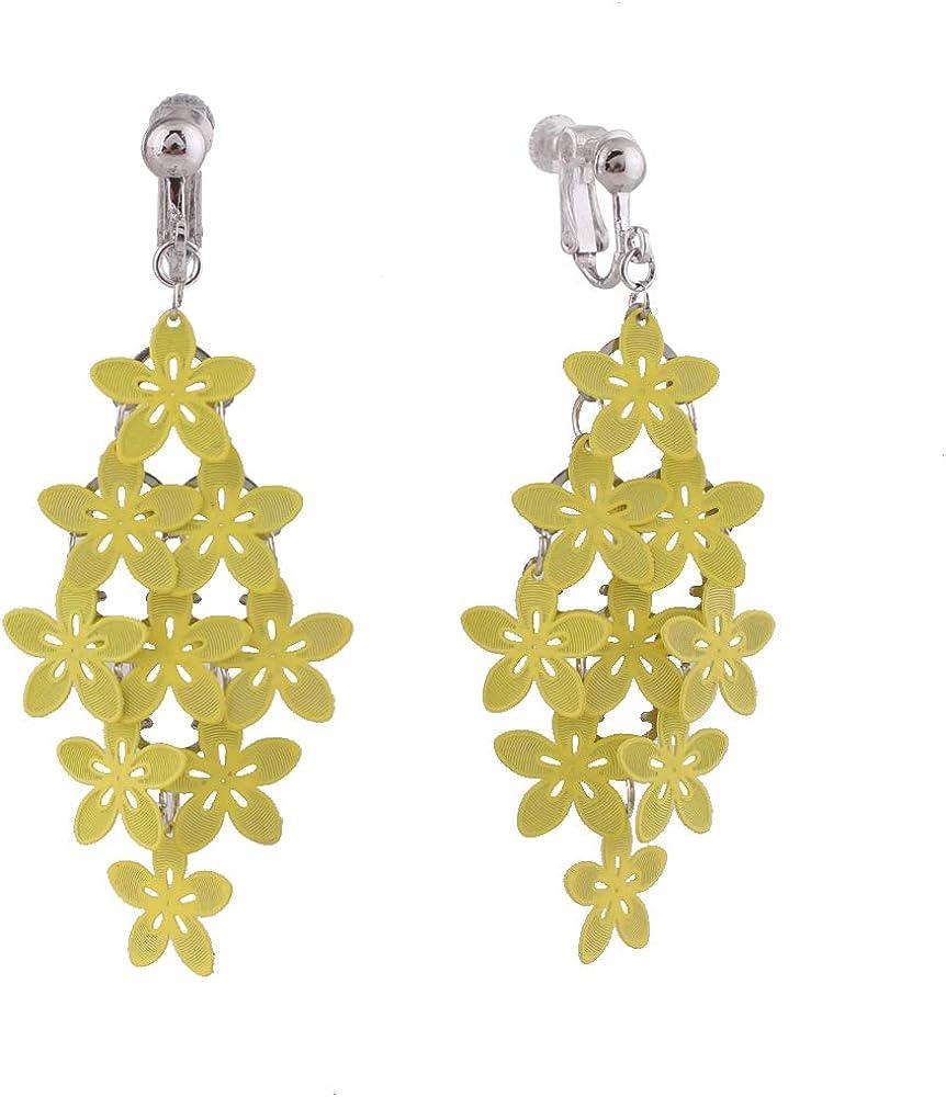 HAPPYAN Handmade Multi-layer Clip On Earrings for Women & Clip-Ons Lightweight flower Leaf Dangle Earrings