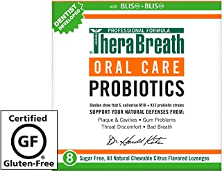 TheraBreath Oral Health Probiotic Supplement, Citrus Flavor, 8 Chewable Lozenges