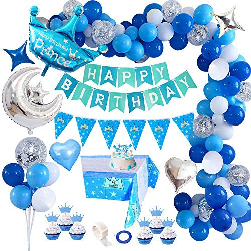 AYUQI Décorations de Fête d'anniversaire avec Gâteau DIY, Décorations Anniversaire Garcon Enfant, Bannière de Joyeux Anniversaire, Ballon Bleu et Blanc de Confettis Lettrés pour Garcon (Bleu)