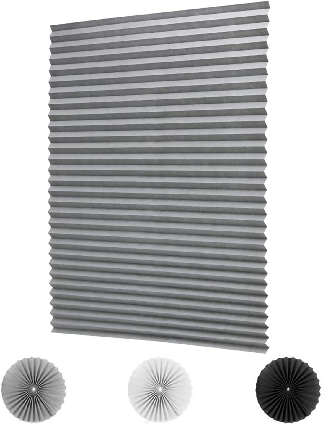 LUCKUP 2 Pack Cordless Light Filtering Pleated Fabric Shade,Easy to Cut and Install, with 4 Clips (48