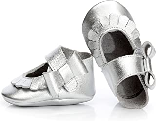 HONGTEYA Baby Girl Shoes Moccasins - 100% Real Leather Mary Jane Shoes Soft Sole Bowknot First Walkers