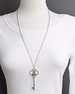 Silver key necklace 27 long necklace chain skeleton key pendant