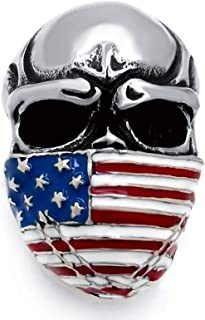 Men's Stainless Steel Ring American Flag Mask Skull Biker Jewelry (US Size 8 to 15)