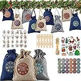 Shengruili Bolsa de Regalo Navidad Decoración,Yute para Calendario de Adviento con Pegatinas Navideñas, Set de 24 Bolsas de Yute,Bolsa de Regalo de Cáñamo de Yute,Bolsa de Yute Algodon (Cloth Bag)
