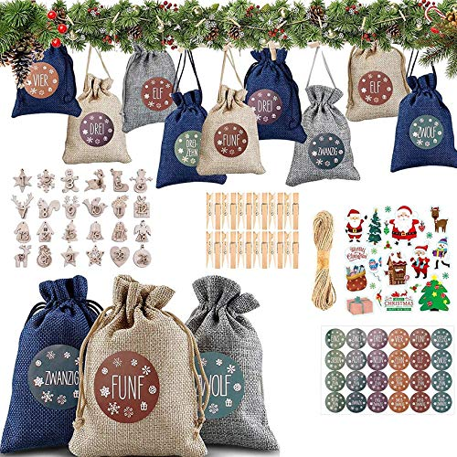 Shengruili Bolsa de Regalo Navidad Decoración,Yute para Cal