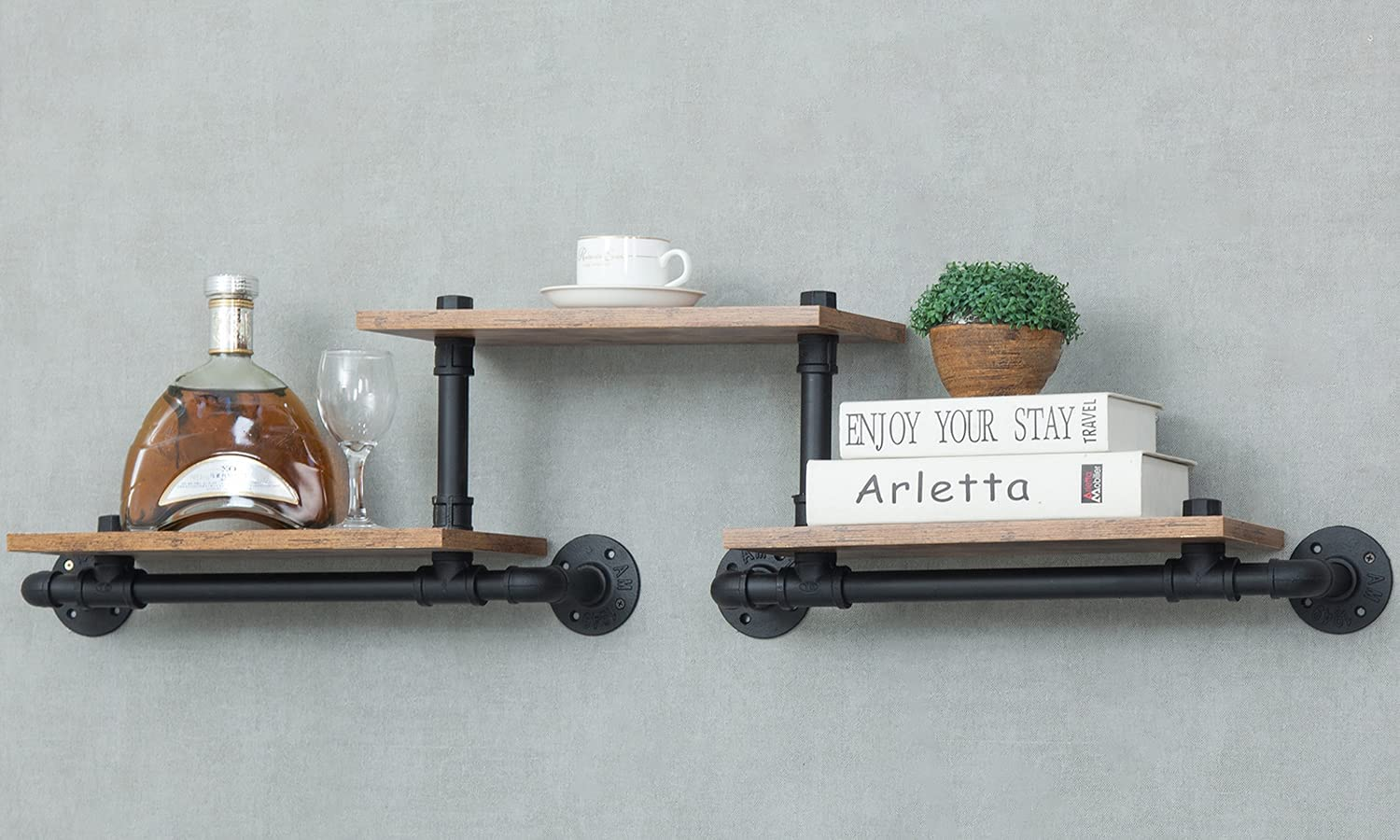 Industrial Floating Pipe Wall Mounted Wood Rustic Beauty Limited Special Price products Modern Shelves