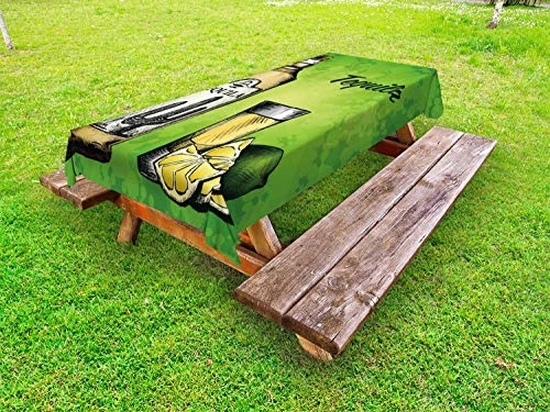 ABAKUHAUS Tequila Tafelkleed voor Buitengebruik, Fles Shot Glas en Lime, Decoratief Wasbaar Tafelkleed voor Picknicktafel, 58 x 120 cm, Lime Green Pale Camel