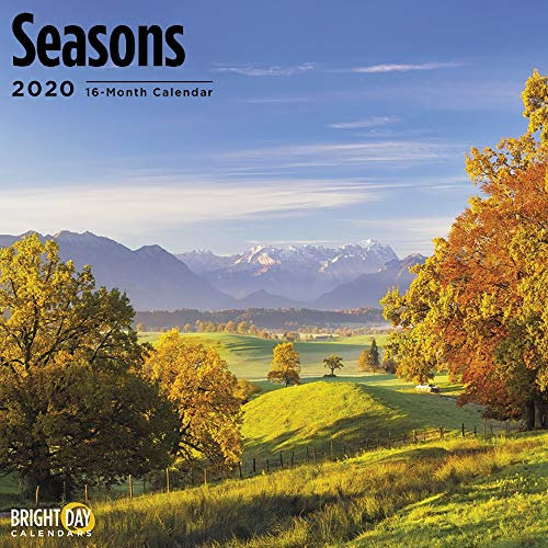 2020 Seasons Wall Calendar by Bright Day, 16 Month 12 x 12 Inch, Winter Summer Spring Fall Landscape