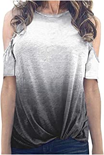 Women's Gradient Printed T-Shirt Summer Casual Cold Shoulder Short Sleeve Crew Neck Tee Tops