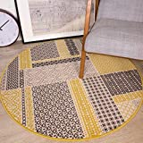 The Rug House Tapis de Salon Circulaire Traditionnel Milan Motif Patchwork Ocre Gris Beige et Jaune Moutarde 120cm diamètre