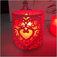 NXYCXXJS 30 Pieces of Cream Heart Cut Tea Light Candle Candle Holder Wedding Table Decoration