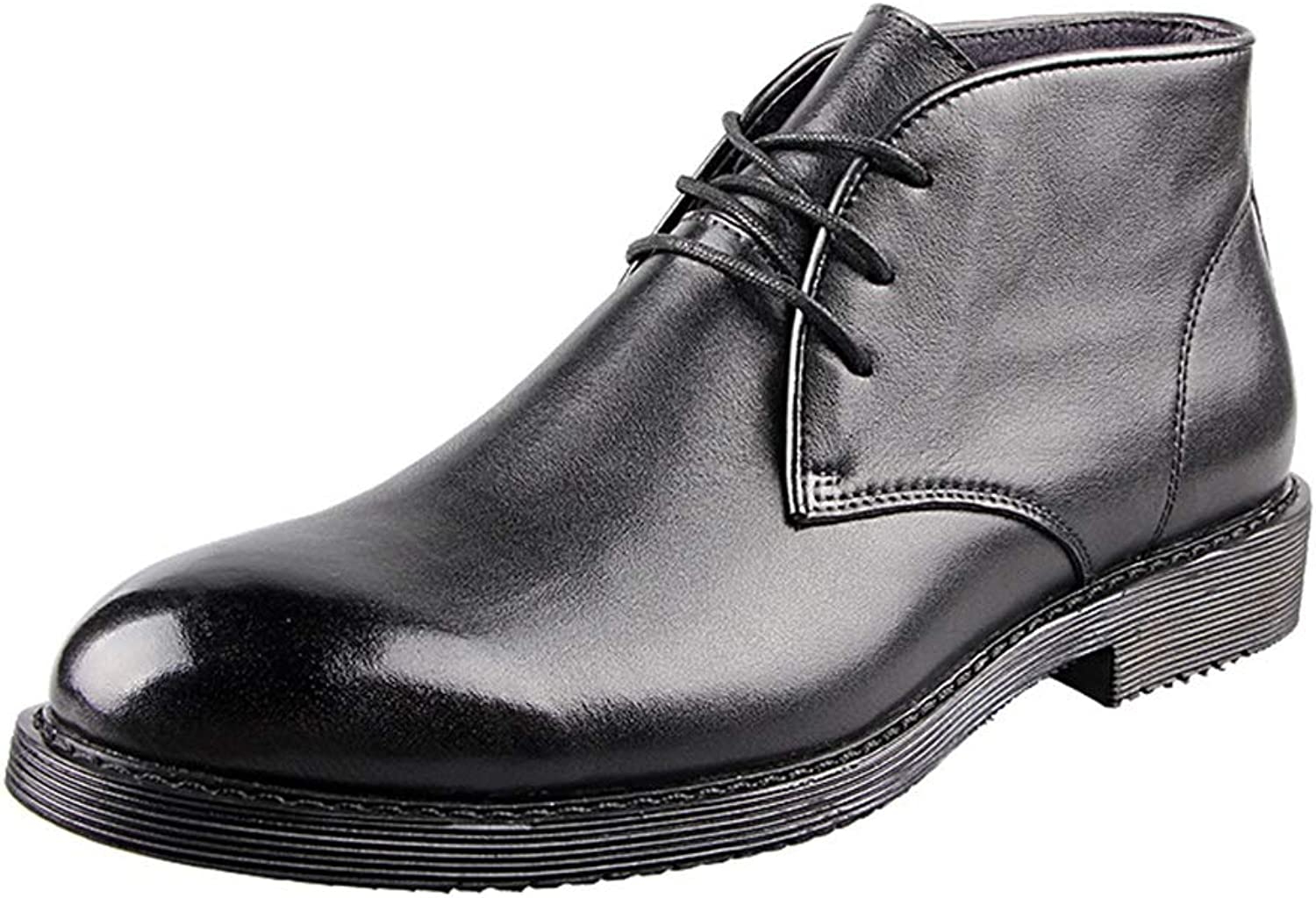 shoes Boots Leather Dad New Year Retro Business Middle-Aged Middle Help Handmade Martin Boots Leather Cotton Men Plus Cashmere(color  Black)