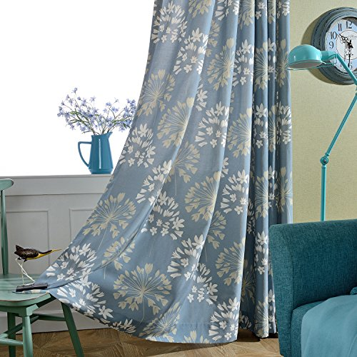 VOGOL Window Room Grommet Curtain Drapes for Bedroom and Living Room, Set of 2 Panels, W52 x L84 inch,White Vintage Floral Patten in Blue